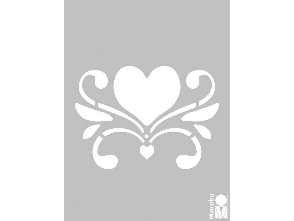 Šabloon Marabu 3D 15x20cm Romantic Heart