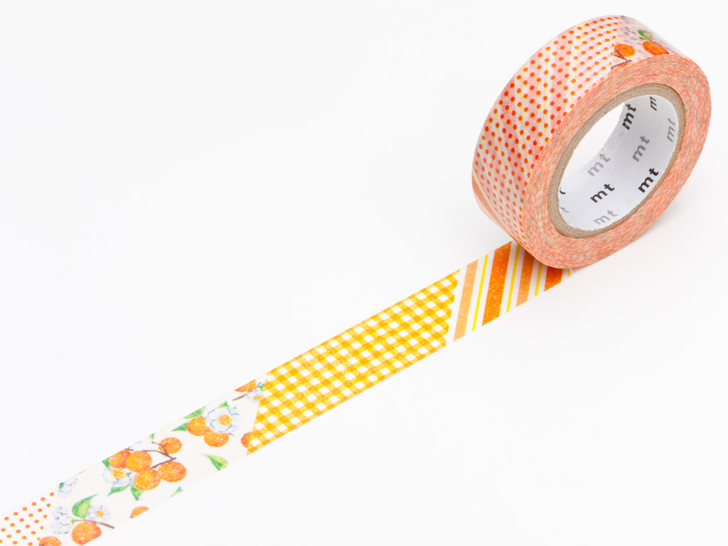 Washi līmlente mt ex 15mmx10m flower orange
