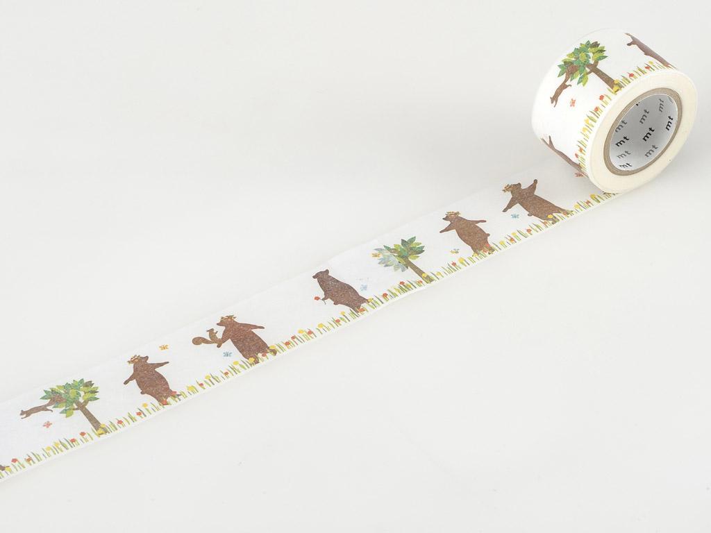 Washi līmlente mt ex 30mmx10m kasaneru bear&squirrel