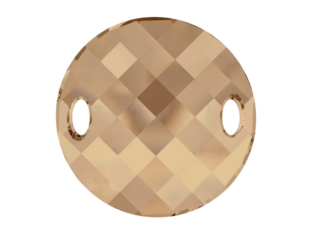 Kristāla pērlīte izšūšanai Swarovski apaļa plāksnīte 3221 28mm 001GSHA crystal golden shadow