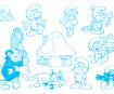 Spaudas Aladine Stampo Minos 10vnt. Smurfs + pagalvėlė antspaudams juoda