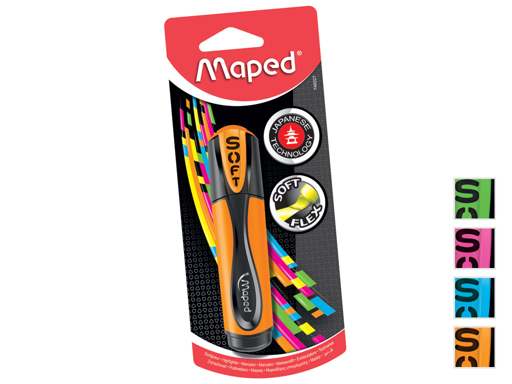 Teksta mārkers Maped Fluo Peps Ultra Soft asorti blisterī