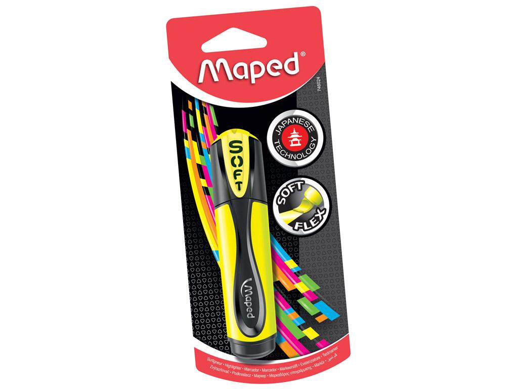 Teksta mārkers Maped Fluo Peps Ultra Soft dzeltena blisterī