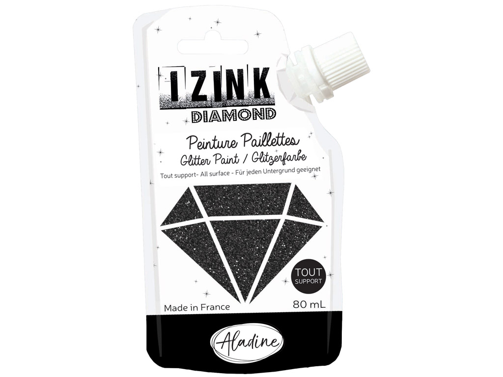 Dekorkrāsa Aladine Izink Diamond 80ml black