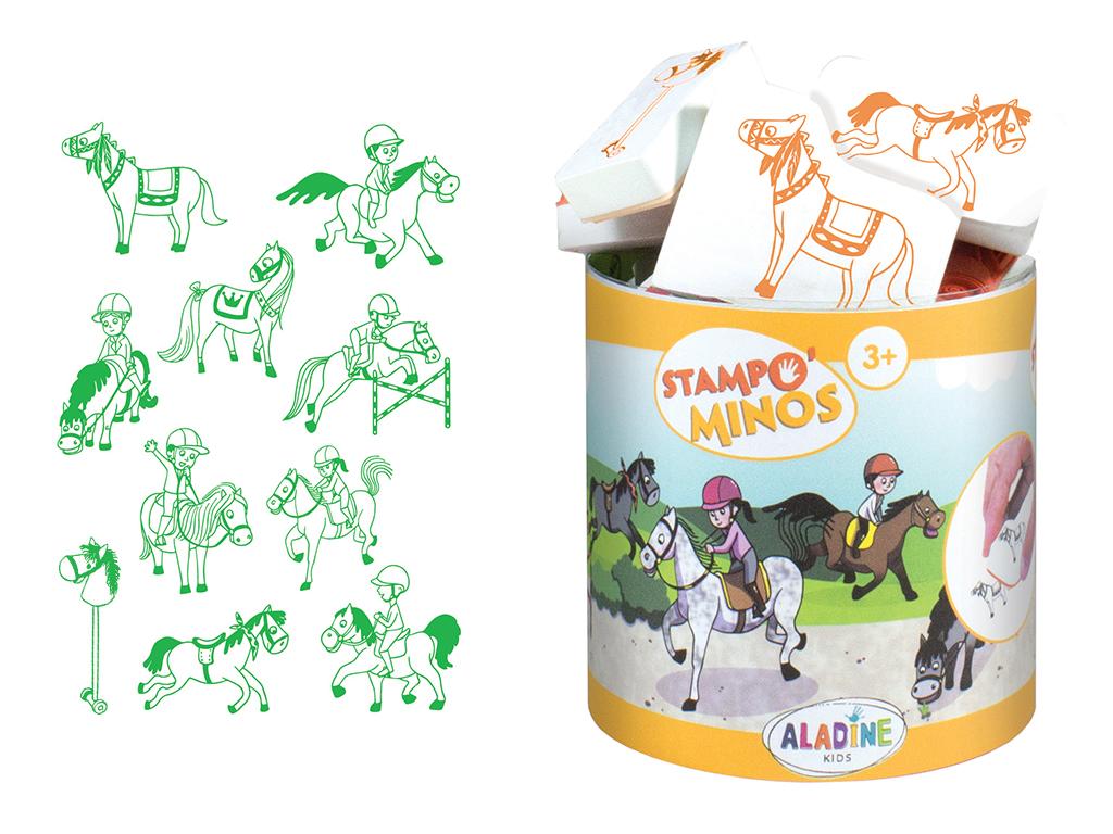Spaudas Aladine Stampo Minos 10vnt. Horses + pagalvėlė antspaudams juoda