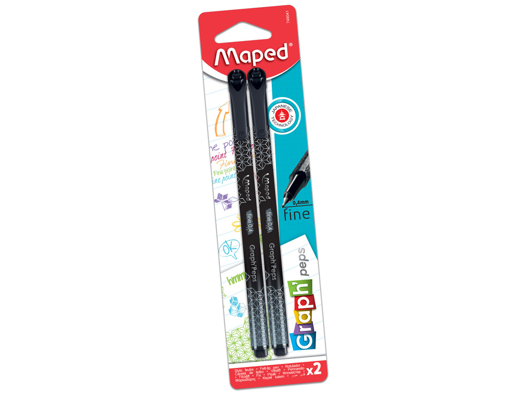 Tintes pildspalva fineliner Maped GraphPeps Deco 0.4 dark black 2vnt. blisterī