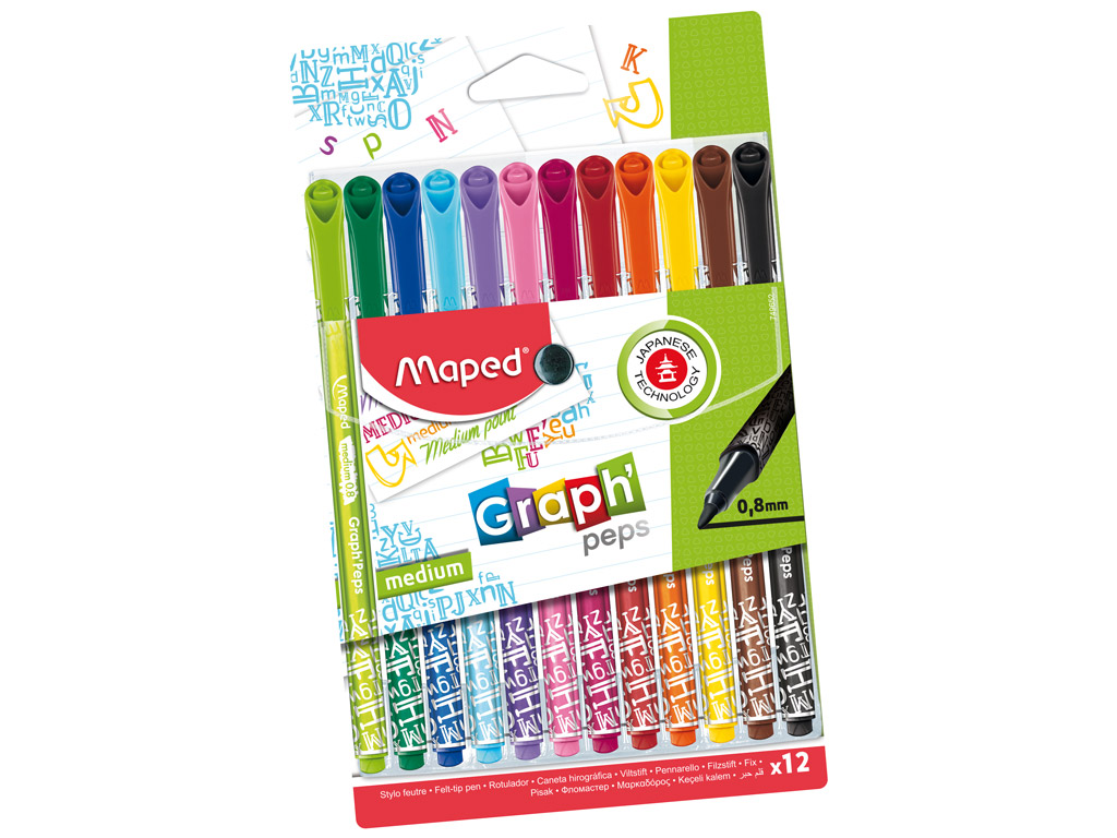Tintes pildspalva fineliner Maped GraphPeps Deco 0.8 12gab. blisterī