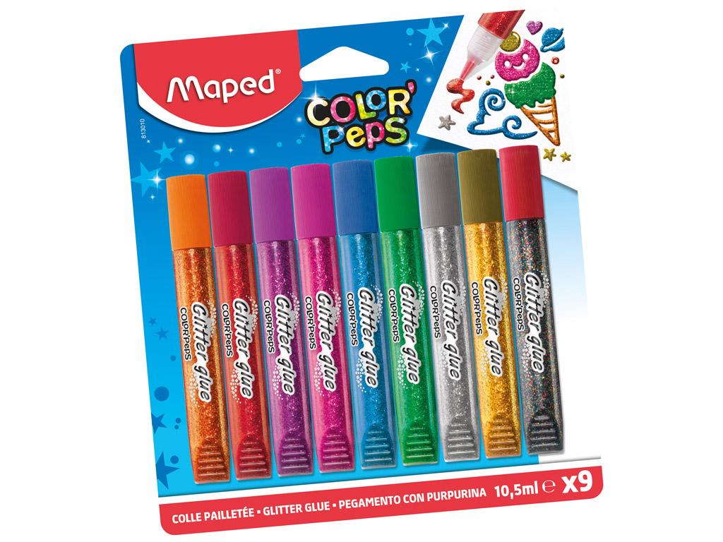 Līme ar glitteriem Maped ColorPeps 9x10.5ml blisterā