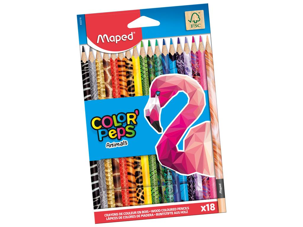 Krāsainais zīmulis ColorPeps Animals 18gab.