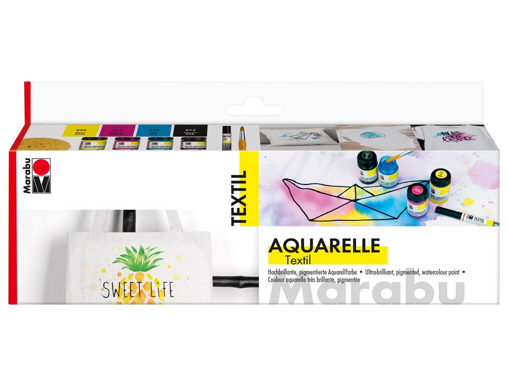 Krāsa tekstilam Aquarelle 4x15m+ota+švamme+marķieris tekstilam