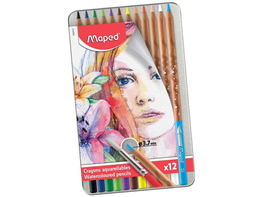 Spalvotas pieštukas Maped Artist 12vnt. metalinė dėžutė