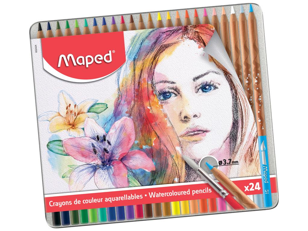 Akvarellpliiats Maped Artist 24tk metallkarbis
