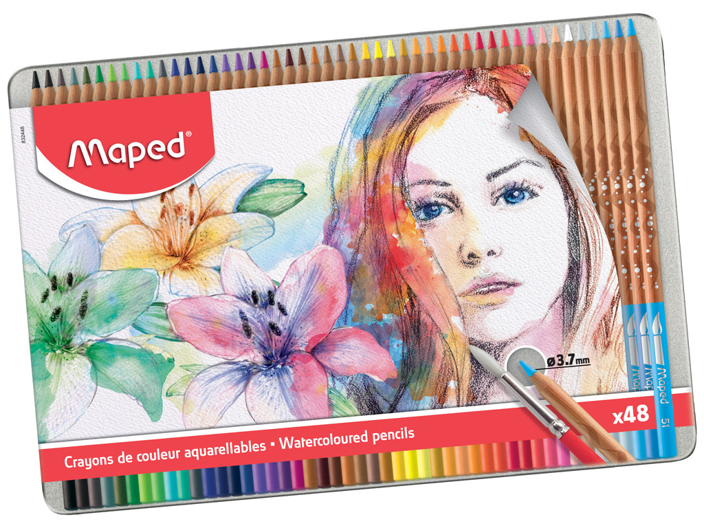 Spalvotas pieštukas Maped Artist 48vnt. metalinė dėžutė
