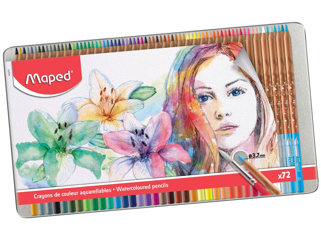 Krāsainie zīmuļi Maped Artist 72gab. metāla kastē